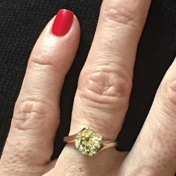 Vintage Fancy Yellow Round Brilliant Cut Diamond Ring GIA (1.94cts)