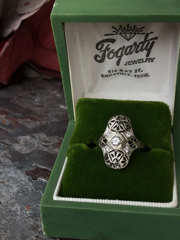 Edwardian Platinum Five Stone Diamond Filigree Ring (Antique)