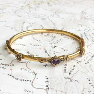Victorian 14kt Yellow Gold Amethyst Floral Bracelet (Antique)