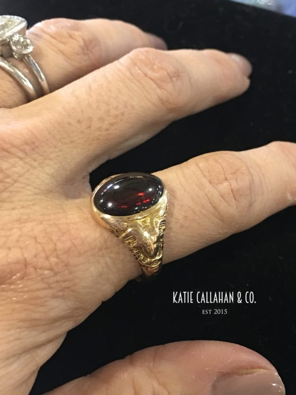 Edwardian Garnet and 12kt Yellow Gold MB Bryant Ring (Antique)