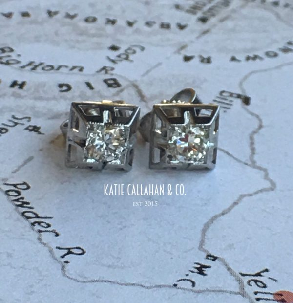 14kt White Gold Mid-Century Diamond Earrings (Vintage)