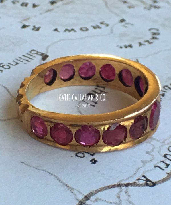 12kt Yellow Gold European Old Cut Ruby Eternity Band (Antique)