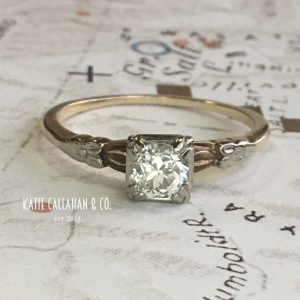 Art Deco Engagement Ring 14kt Yellow and White Gold Ostby Barton Diamond (Antique)