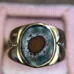 Retro 10kt Yellow Gold Bloodstone Ring (Vintage)