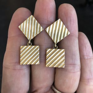 Retro Yellow Gold Cufflink Earrings (Vintage)