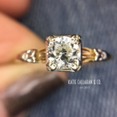 Art Deco 14kt Yellow and White Gold Ostby Barton Diamond Engagement Ring (Antique)