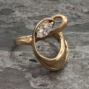 Retro 14kt Yellow Gold Marquis Diamond Freeform Ring (Vintage)
