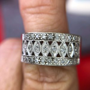 Vintage Style Diamond Cigar Band/Wedding Band