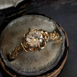 "Yellow Gold (14kt) ""Buttercup"" Vintage Diamond Engagement Ring (GIA Cert)"