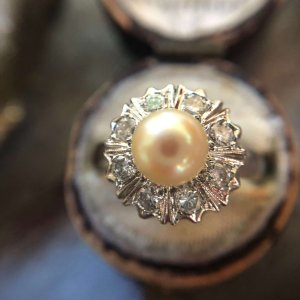 14kt White Gold Old Cut Diamond and Pearl Vintage Ring