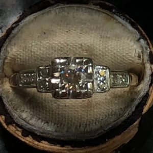 Art Deco Old European Cut Diamond Engagement Ring (Vintage)