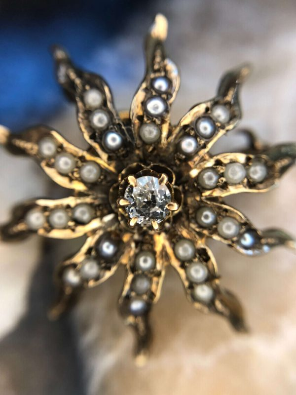 Victorian CD Peacock Yellow Gold Pearl & Diamond Starburst Pendant/Brooch (Vintage)