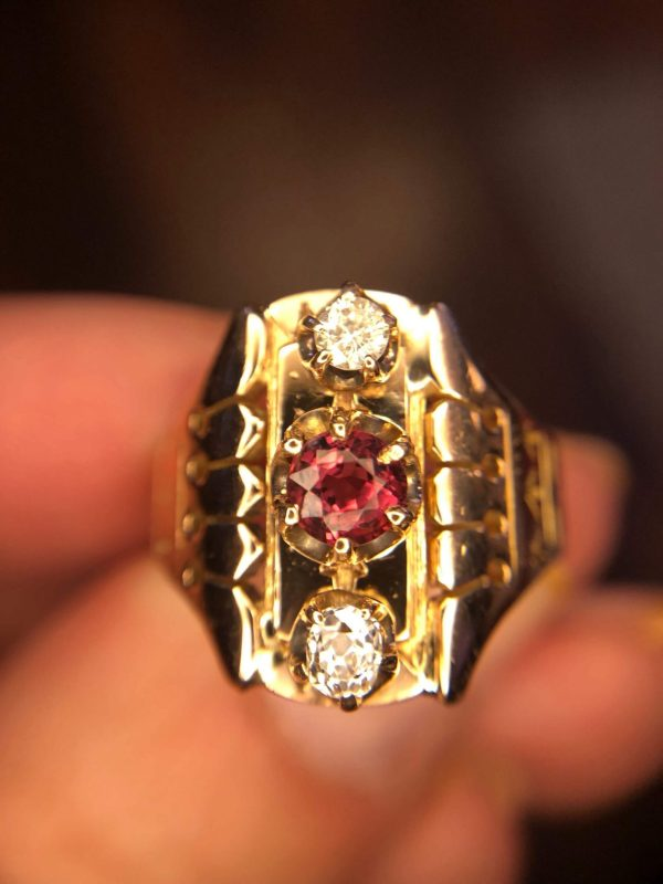 Victorian 14kt Rose Gold Raspberry Spinel and Diamond Three Stone Ring (Vintage)