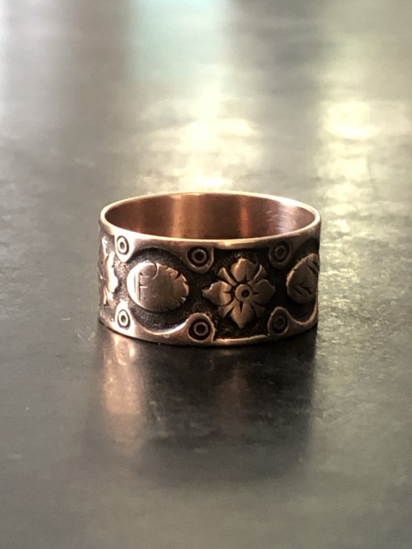 Victorian 9kt Rose Gold Patterned Band (Antique)