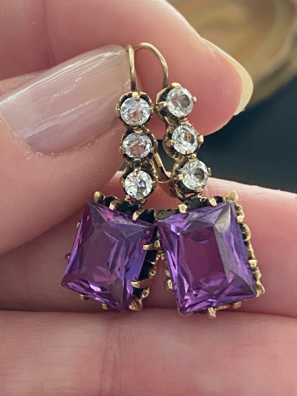 Vintage Alexandrite Chandelier Earrings