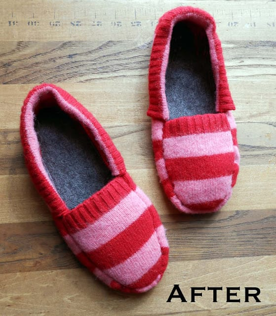 Upcycled Sweater Slippers from We Can Re-Do It on Katie Crafts; http://www.katiecrafts.com