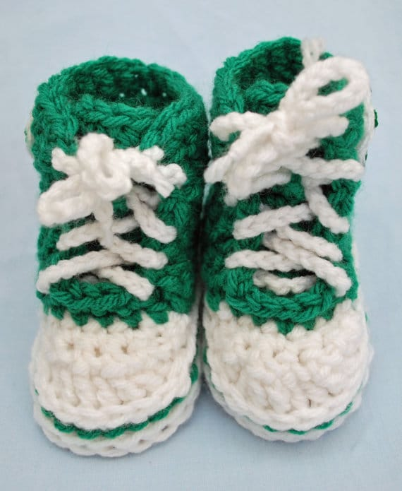 Infant Booties: Kelly Green Hi Top by Hatt Street on Katie Crafts