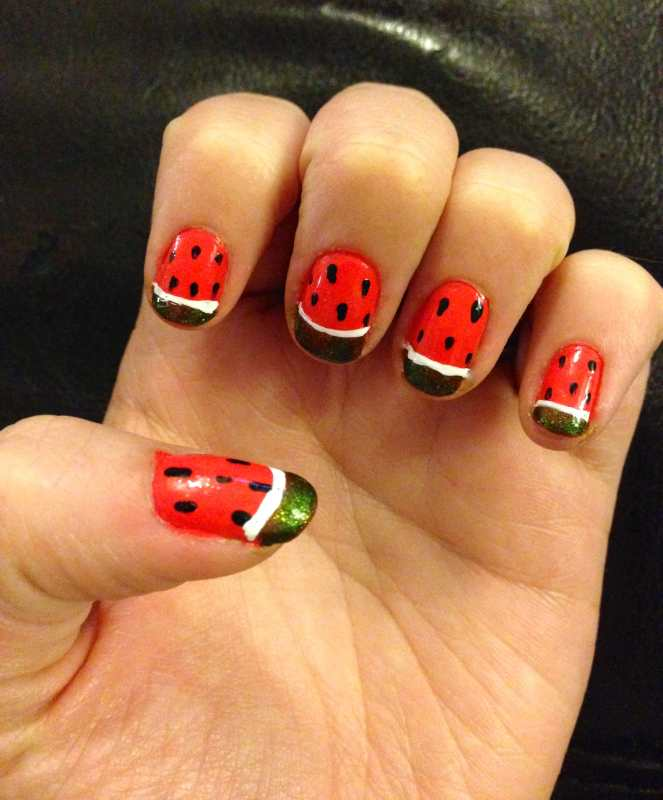 Watermelon Nail Art Design by Katie Crafts; http://www.katiecrafts.com
