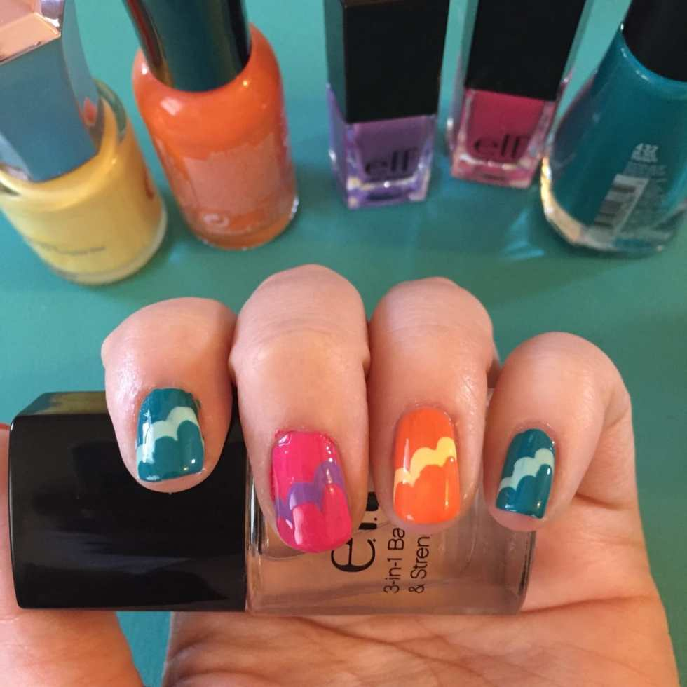 Nail Art: Waves or Clouds? by Katie Crafts; http://www.katiecrafts.com