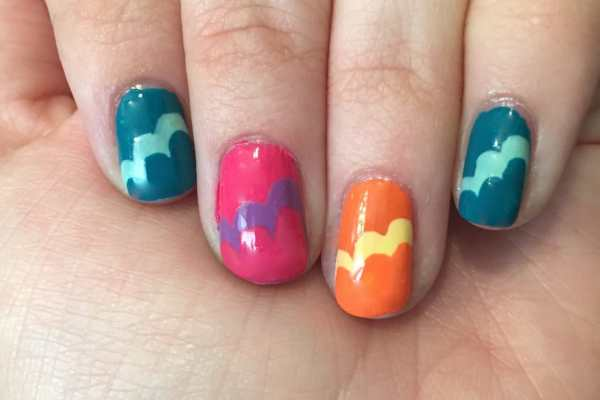 Nail Art: Waves or Clouds? by Katie Crafts; https://www.katiecrafts.com