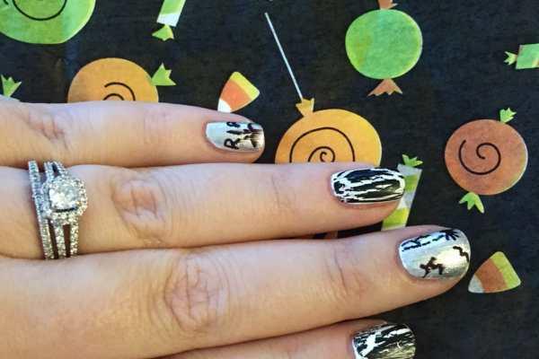 Tombstone Nail Art Tutorial for Halloween on Katie Crafts; https://www.katiecrafts.com