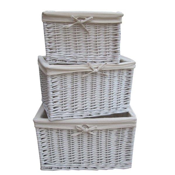 White Wicker Storage Baskets