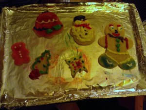 My older nephew's cookies...love the eyes on the gingerbread man!