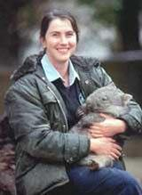 With a baby wombat in my zookeeper days. Wombats are still one of my favorite animals.
