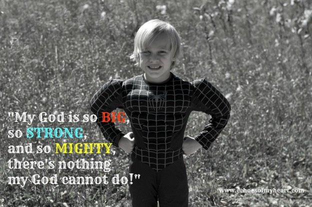 There's nothing my God can't not do lyrics with boy dressed as superhero