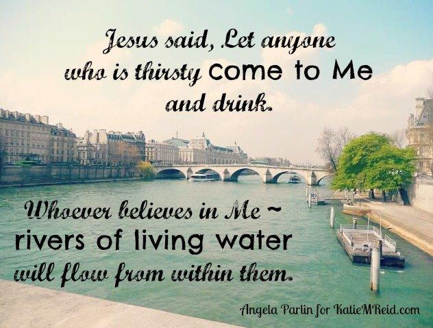 Jesus is Living Water verse by Angela Parlin for Katie M. Reid