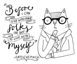 Atticus Finch To Kill a Mockingbird cat pun illustration