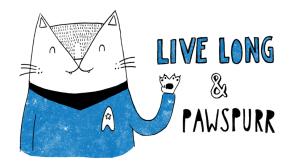 Live Long & Prosper Spock cat pun illustration