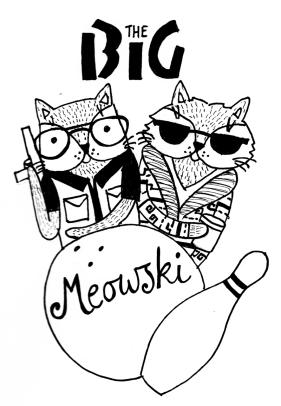 The Big Lebowski cat pun illustration