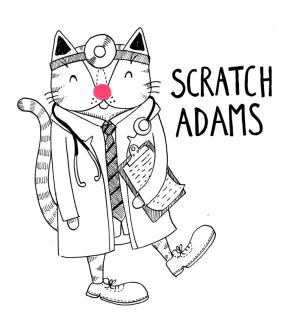 Patch Adams cat pun illustration