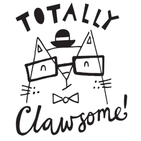 Totally Clawsome cat pun illustration