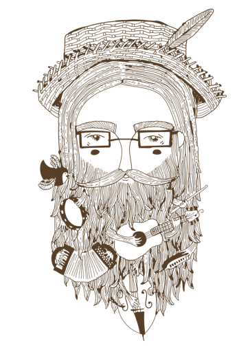 illustration folk man beard instruments guitar accordion tambourine double bass cello mouth harmonica hat feather line drawing character portrait