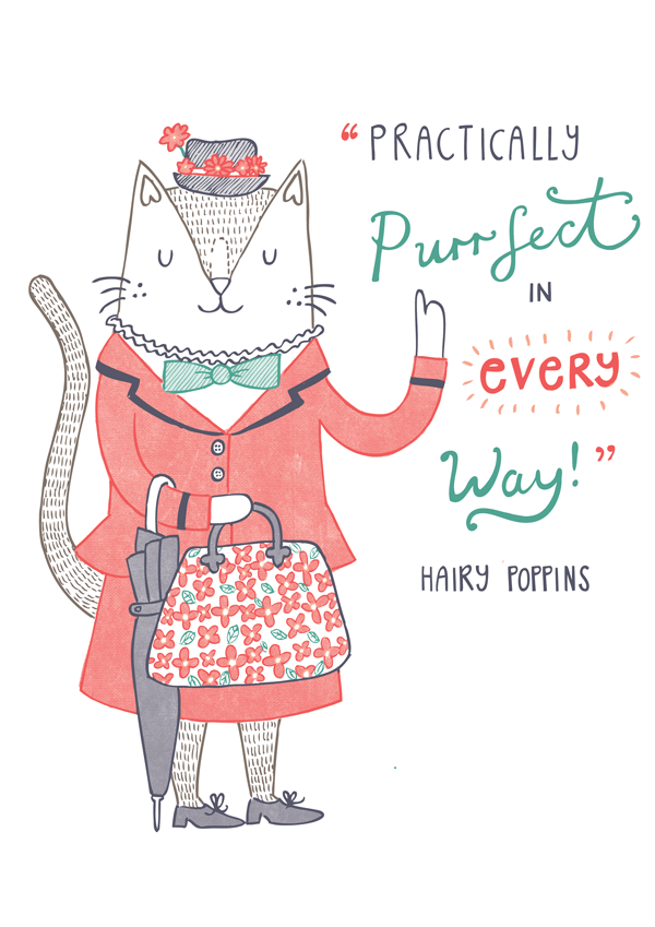 Mary Poppins cat pun illustration