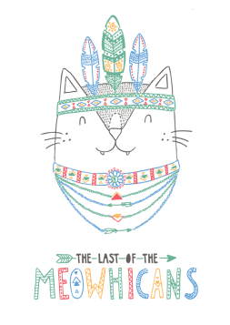 The Last of the Mohicans cat pun illustration