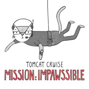 Tom Cruise Mission Impossible cat pun illustration