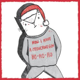 Die Hard cat pun illustration