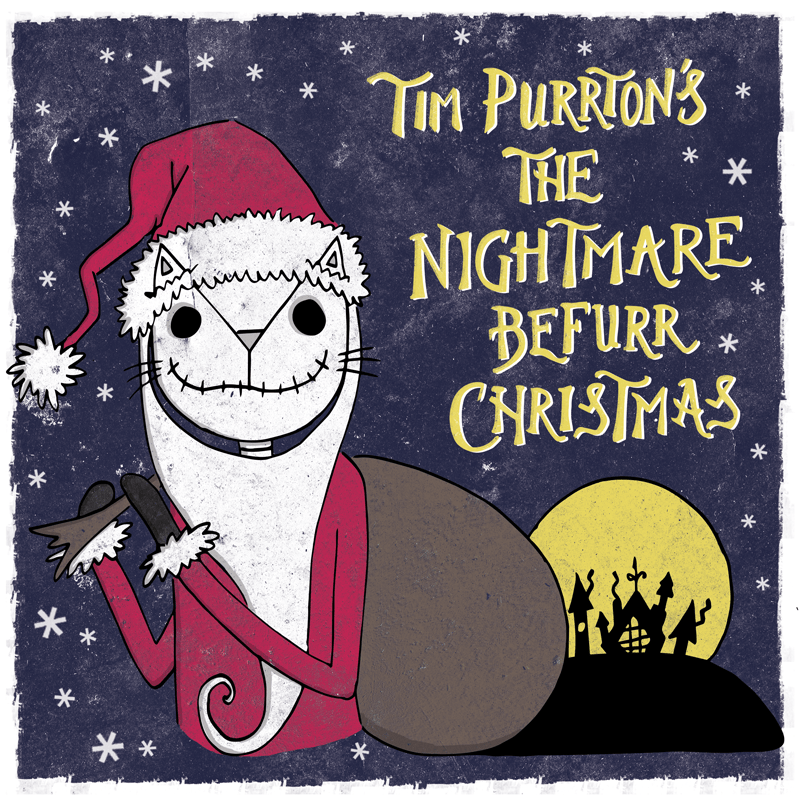 The Nightmare Before Christmas cat pun illustration