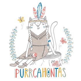 Pocahontas cat pun illustration