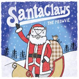 Santa Claws cat pun illustration