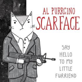 Al Pacino Scarface cat pun illustration