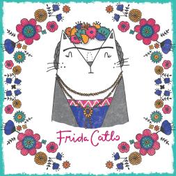Frida Kahlo cat pun illustration
