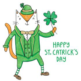 St. Patricks Day cat pun illustration