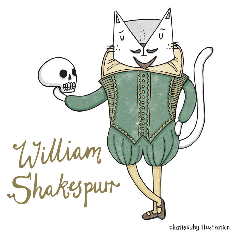 William Shakespeare cat pun illustration