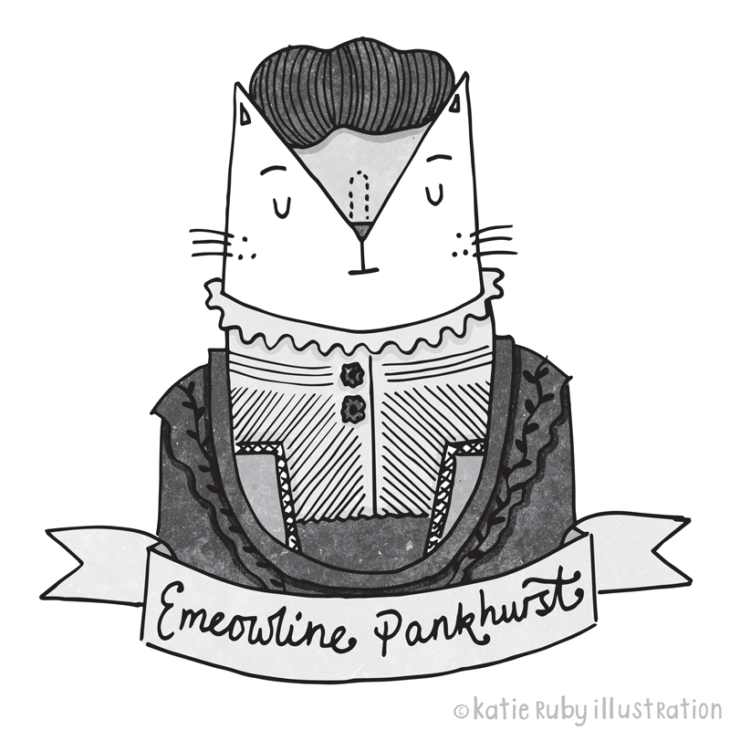 Emeline Pankhurst Cat Pun Illustration