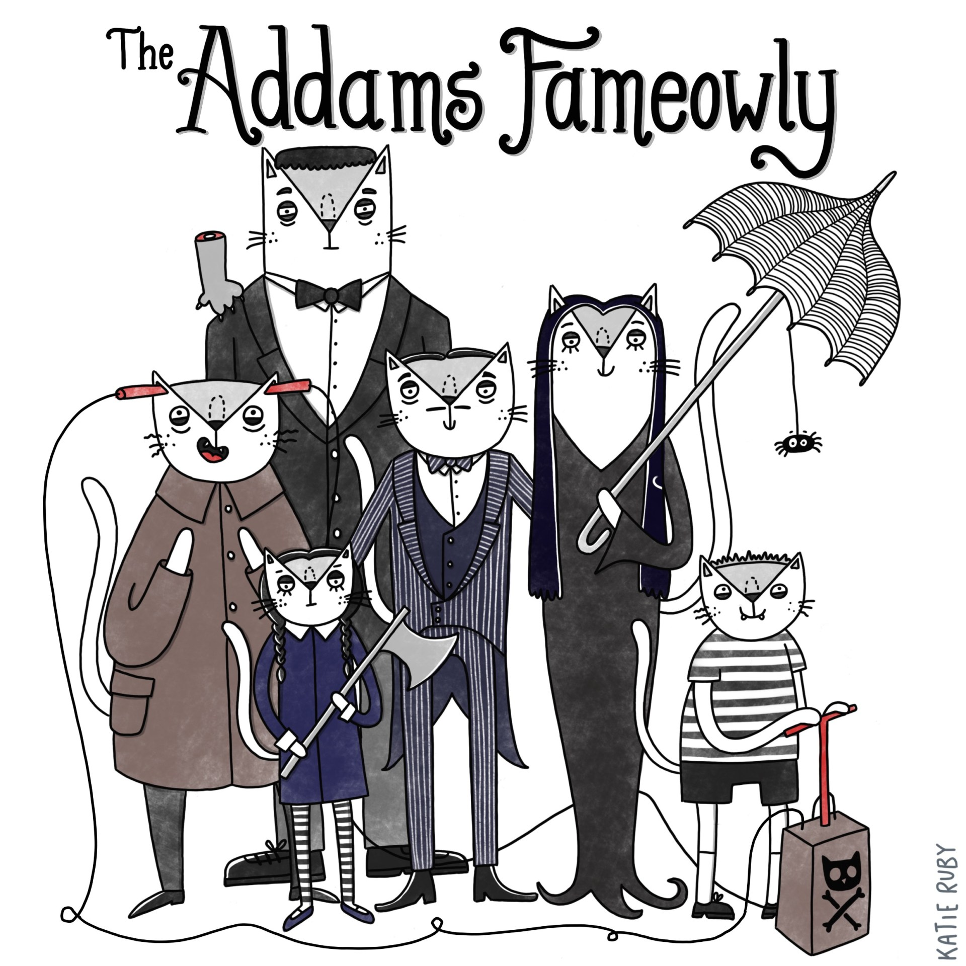 addams family cat pun