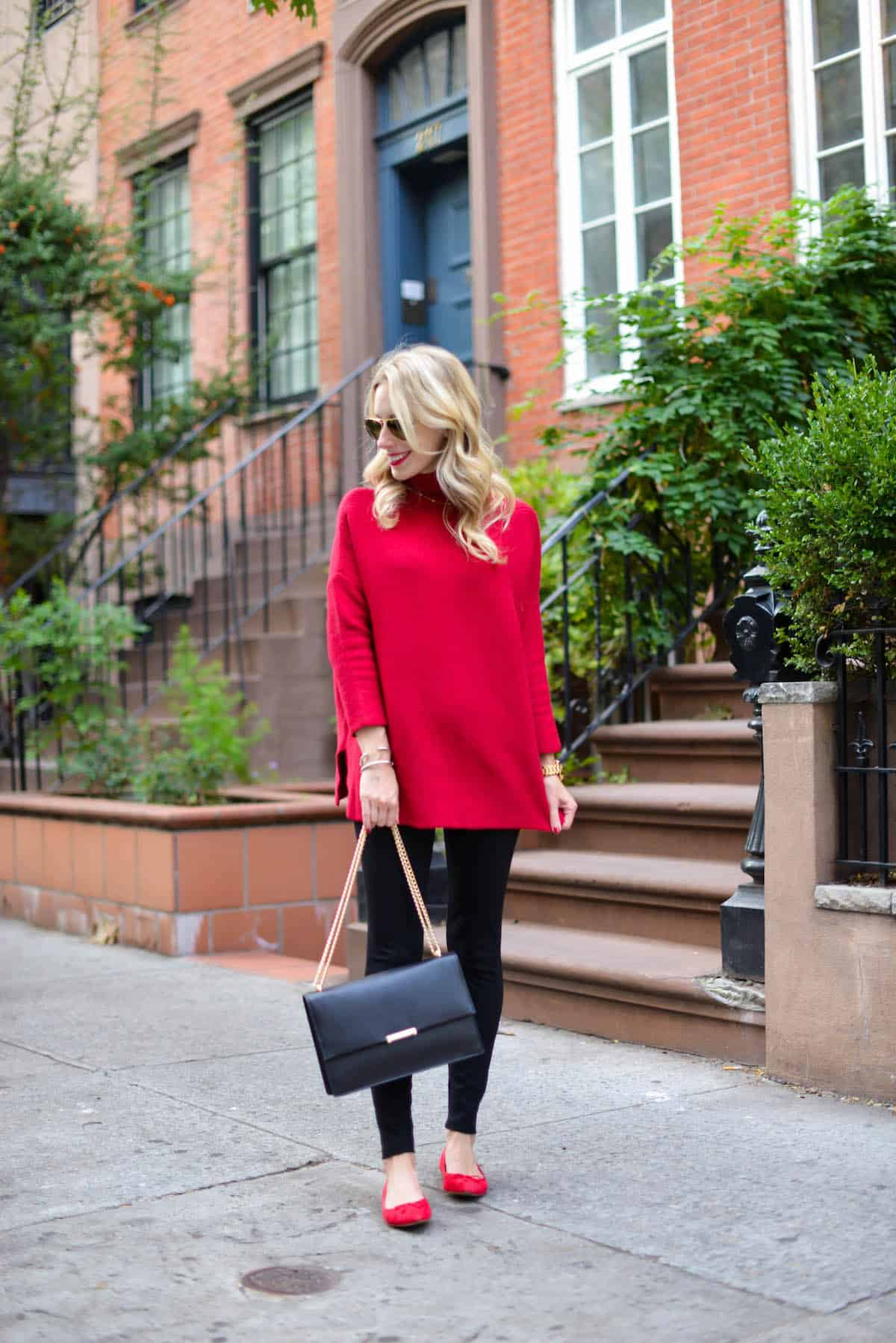 Red Oversized Sweater  The BEST Ballet Flats  Katies Bliss
